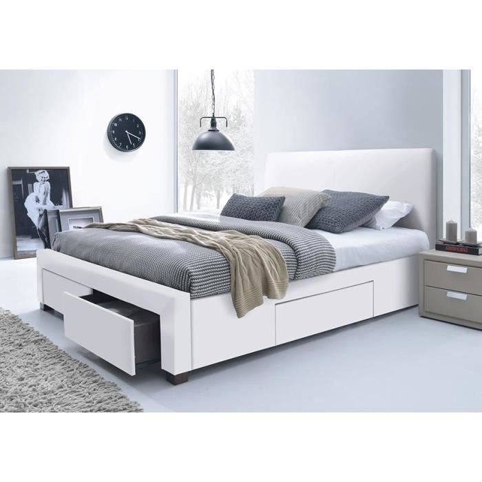 lit pu blanc avec t te de lit seattle 160 x 200 achat. Black Bedroom Furniture Sets. Home Design Ideas