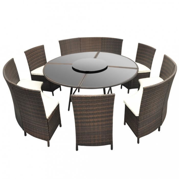 magnifique salon de jardin marron en polyrotin table ronde et chaises 12 pers achat vente. Black Bedroom Furniture Sets. Home Design Ideas