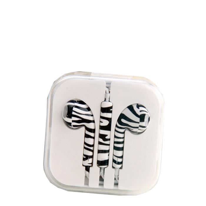 ecouteur pour iphone 5 earpods dessin zebre achat. Black Bedroom Furniture Sets. Home Design Ideas