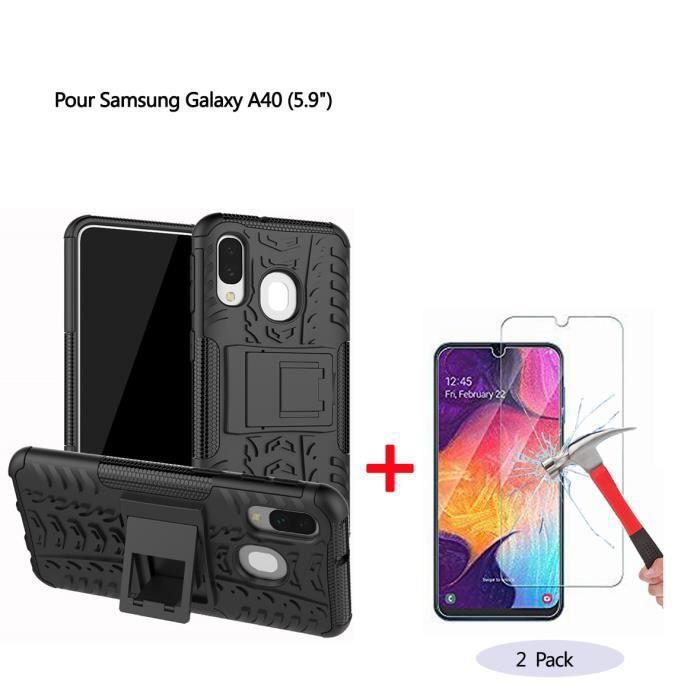 Coque Samsung Galaxy A40 Noir Coque 2 en 1 Silicon