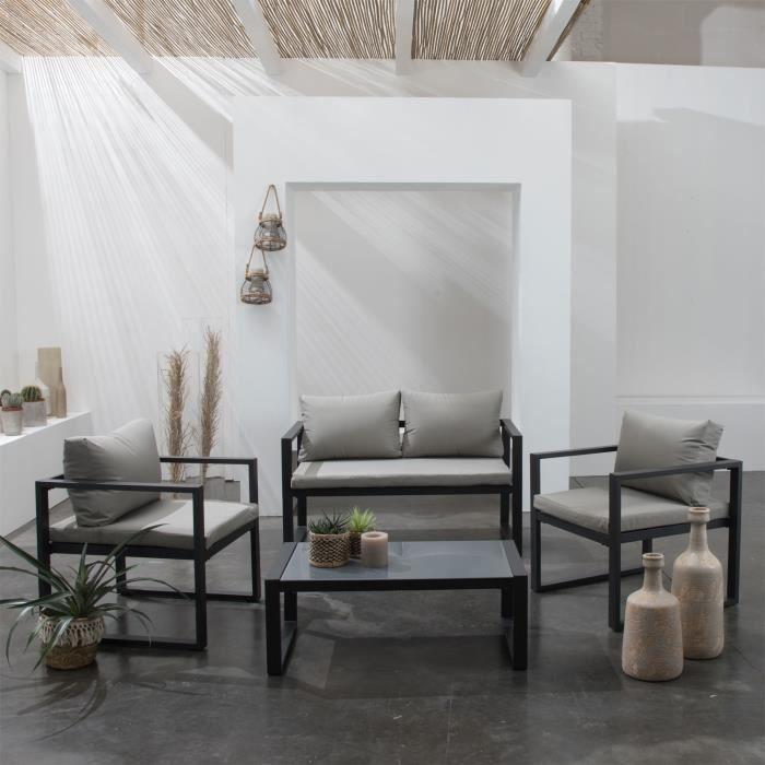 Salon de jardin IBIZA en tissu gris 4 places - aluminium ...