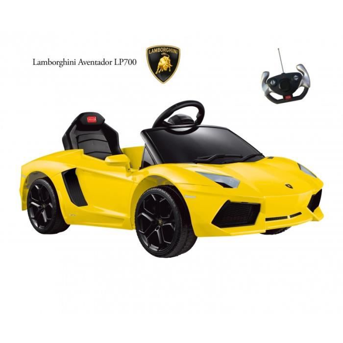 voiture lectrique lamborghini aventador jaune achat vente voiture enfant cdiscount. Black Bedroom Furniture Sets. Home Design Ideas