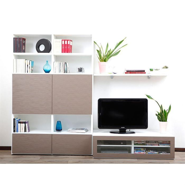 ensemble mural tv design blanc et taupe kelis achat vente meuble tv ensemble mural tv. Black Bedroom Furniture Sets. Home Design Ideas