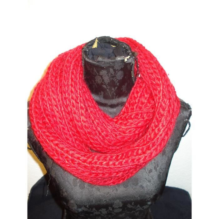 Snood écharpe tube type laine ROUGE ROUGE Rouge ROUGE - Achat ... 0caf2ae363a