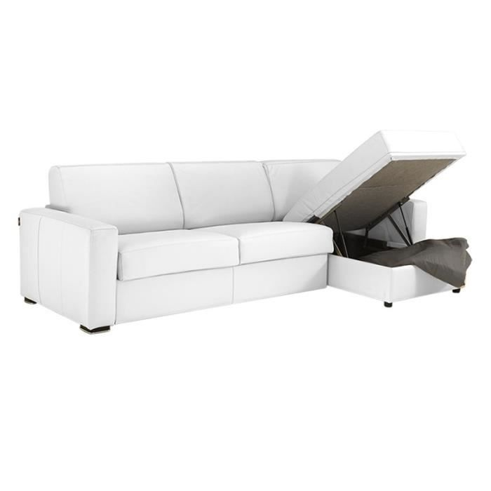 Canap lit d 39 angle milano cuir vachette blanc 120 achat for Canape lit d angle