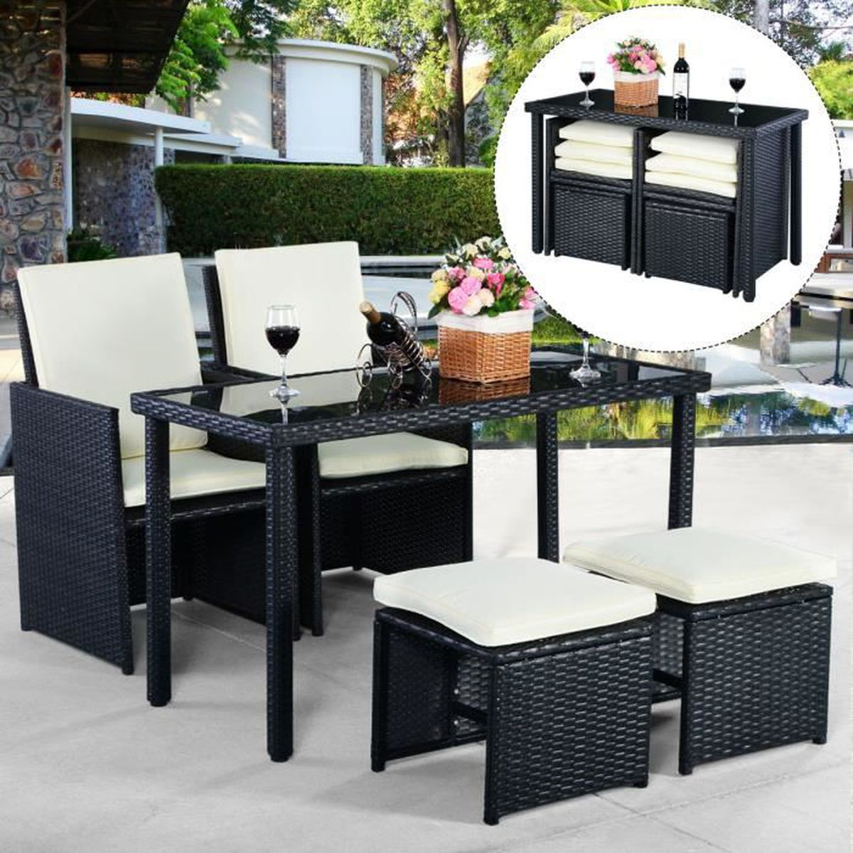 5pcs ensemble salon de jardin si ges table tress e meubles. Black Bedroom Furniture Sets. Home Design Ideas