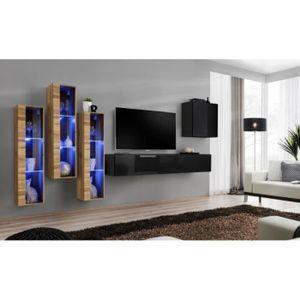 MEUBLE TV MURAL Ensemble mural - Switch XIII - 3 vitrines LED - 1