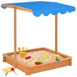 BAC À SABLE Bac à sable avec toit ouvrant Bois Bleu UV50---ETO