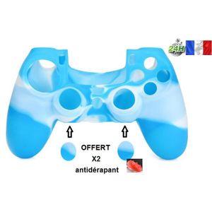 HOUSSE DE TRANSPORT protection manette silicone bleu/blanc housse étui