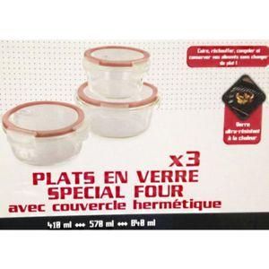 ACCESSOIRES DE FOUR LOT 3 PLATS A FOUR EN VERRE ROND+ COUVERCLE HERMET