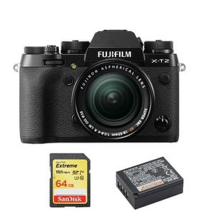 APPAREIL PHOTO RÉFLEX FUJI X-T2 Black KIT XF 18-55mm F2.8-4 Black + 64GB