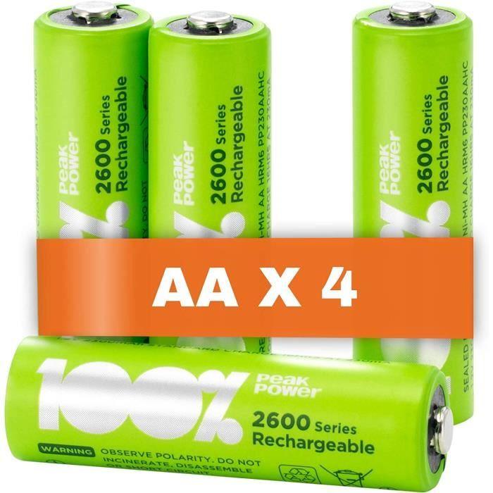 Piles Rechargeable AA x 4 - Série 2600 -100% PeakPower-Préchargé Haute Capacité Batterie NiMH 1.2V LR06