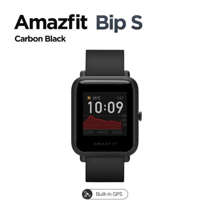 Montre connectée,Nouvelle Version mondiale Amazfit Bip S 5ATM étanche Smartwatch suivi du coeur Bluetooth - Type Carbon Black-Bip S
