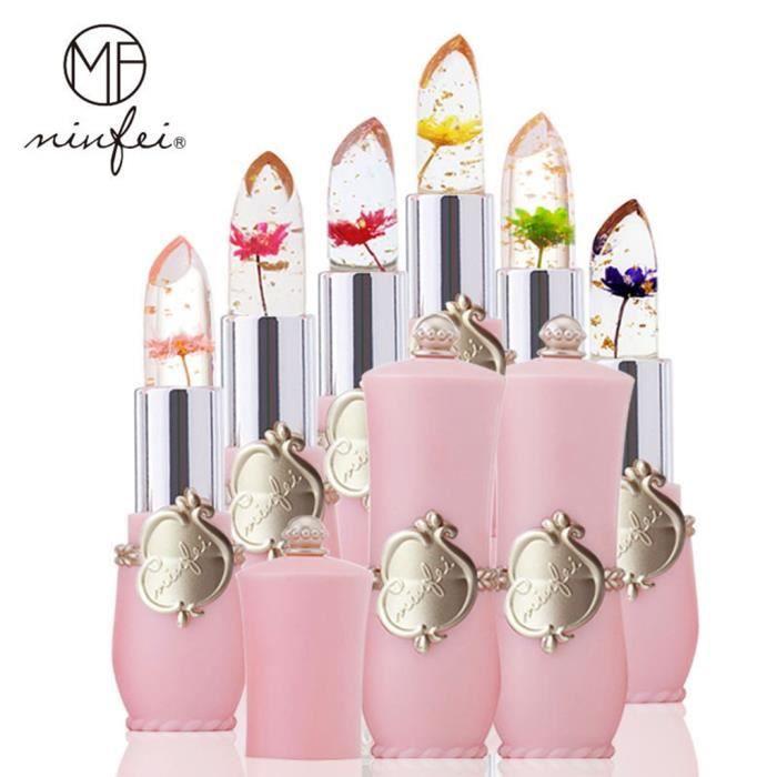 【ROUGE À LÈVRES】Beauté Bright Flower Crystal Jelly Lipstick Magic Temperature Change Color Lip_GT23584
