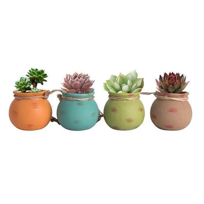 Pot Céramique pour Plantes Suspendues Mini pot de fleur avec Corde Décoration Murale Set de 4