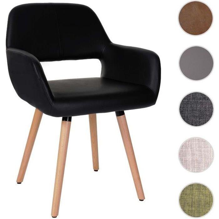 Chaise de salle à manger Altena II, fauteuil, design rétro des années 50 ~ similicuir, noir