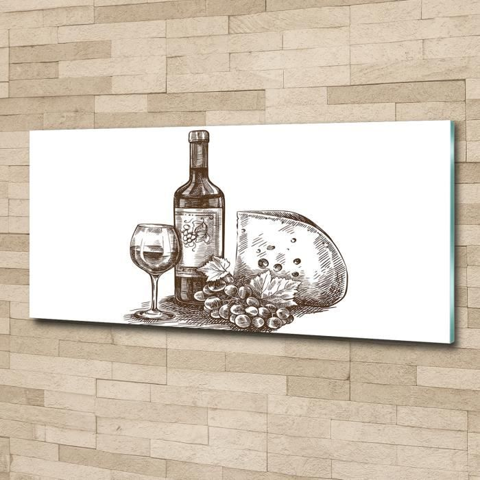 Tulup 125x50cm Tableau sur verre acrylique- Nourriture boissons - Vin Collations - Noir blanc