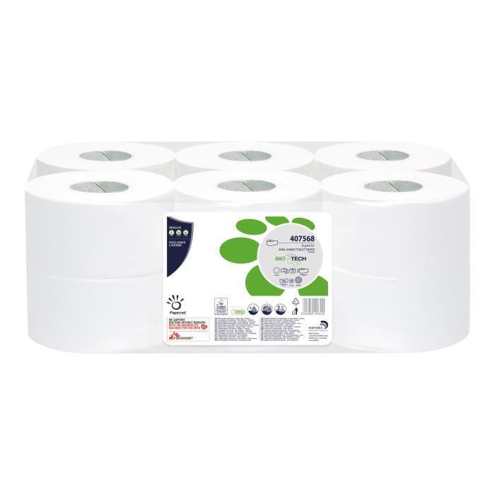 Papernet Superior Maxi Jumbo Papier toilette cellulose pure 405 feuilles rouleau 149.85 m blanc (pack de 12)