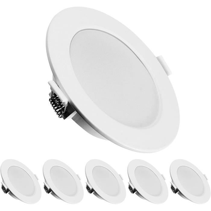 KINGSO 6 Pack LED Spots Encastrables Extra Plat Ultra-mince IP44 6W 500lm Remplacer Halogegravene 60W Blanc Chaud 3000K AC 230V Spo