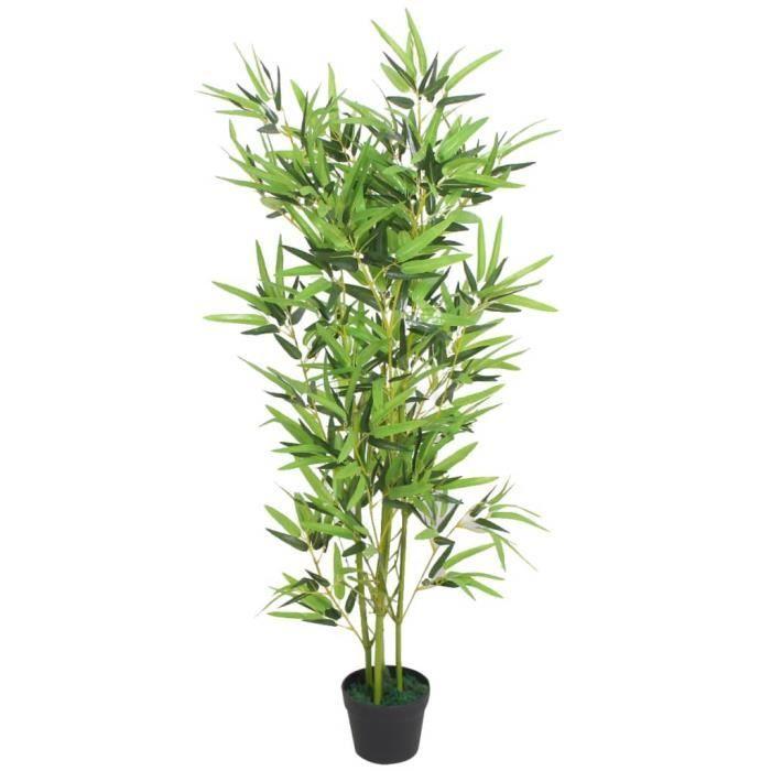 *HOME4101Elégant - Plante Artificielle Déco. Interieur Arbre- Fleur Artificielle Exterieur Décor Jardin avec pot Bambou 120 cm Vert