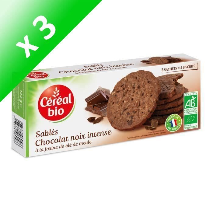 [LOT DE 3] CEREAL BIO Biscuits sablés au chocolat noir intense Bio - 132 g