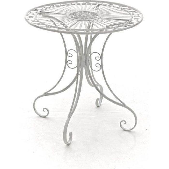 CLP Gracieuse Table de jardin en fer forgé HARI, au style nostalgique, diamètre Ø 70 cm, 6 couleurs au choix73 cm - blanc antique...