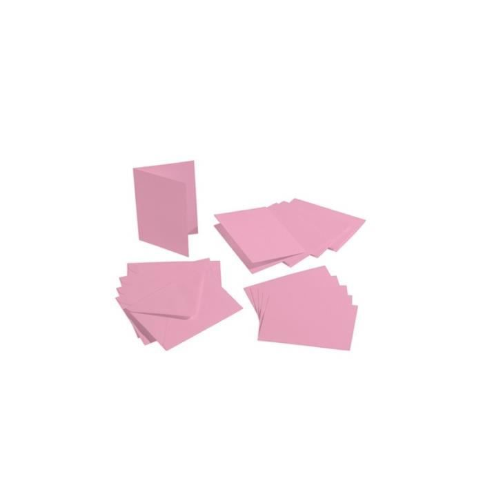 Lot de 5 Cartes double rectangulaires et enveloppes, Format A6, 10,5 cm x 15 cm - Rose