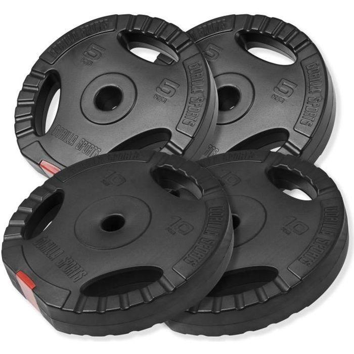Gorilla Sports - Lot des poids en plastique grip de 30kg (2x5kg et 2x10kg) de diamètre 31mm