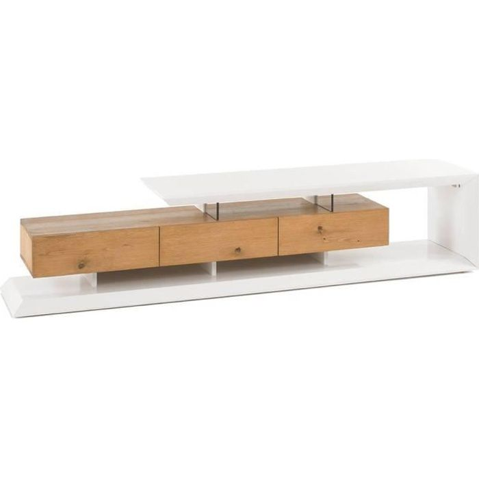 Meuble TV design EMERAINVILLE finition laquée blanc mat 3 tiroirs façade chêne noueux blanc chêne Inside75