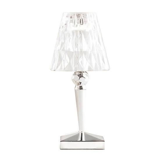 BATTERY-Lampe baladeuse LED d'extérieur rechargeable H22cm chrome et transparent Kartell - designé par Ferruccio Laviani