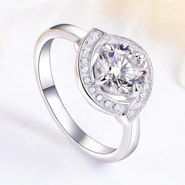 Argent Pur 925 Bijoux Bague Laboratoire Adulte Diamant Femmes Fiancailles Bague