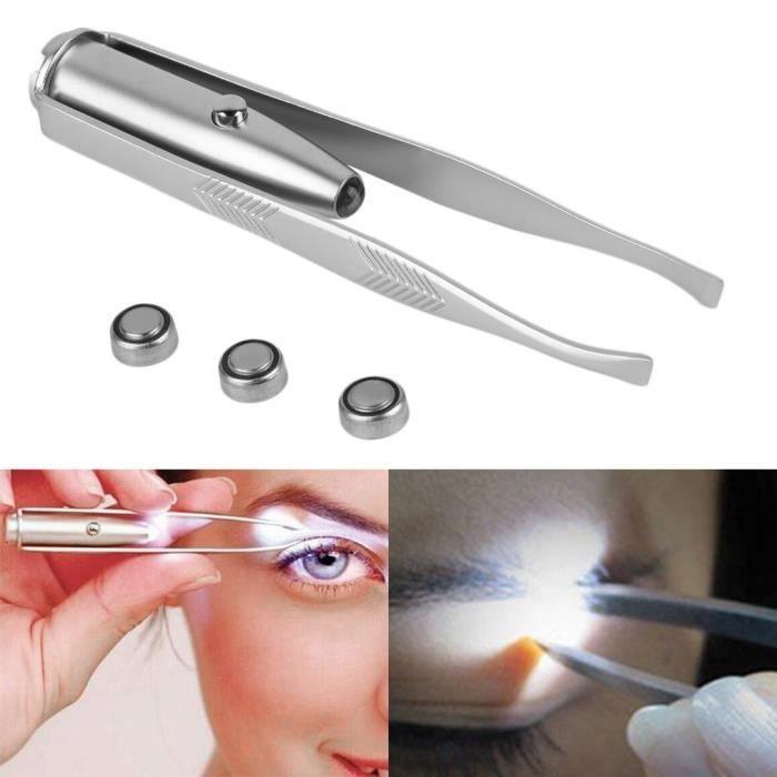 Pince à épiler en acier inoxydable avec lampe LED intégrée