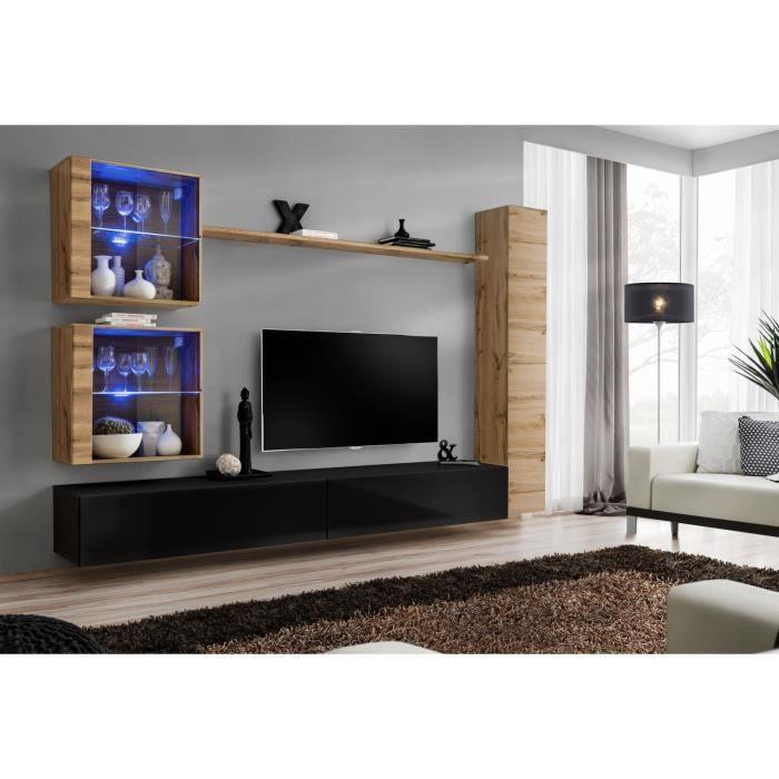 Ensemble meuble salon mural SWITCH XVIII design, coloris noir brillant et chêne Wotan. 40 Noir