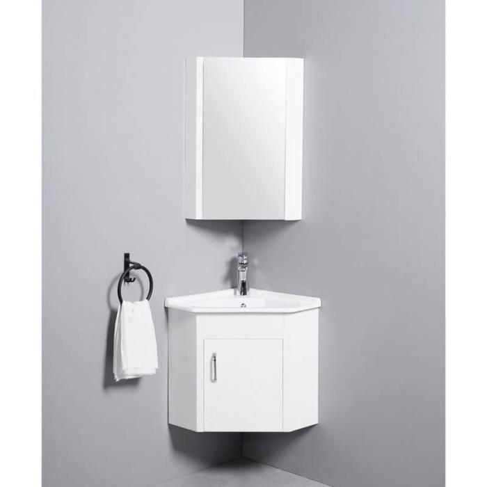 Meuble de Salle de Bain d'Angle Gain de Place - Lave Main - Blanc Crème - 42x42 cm - Corner
