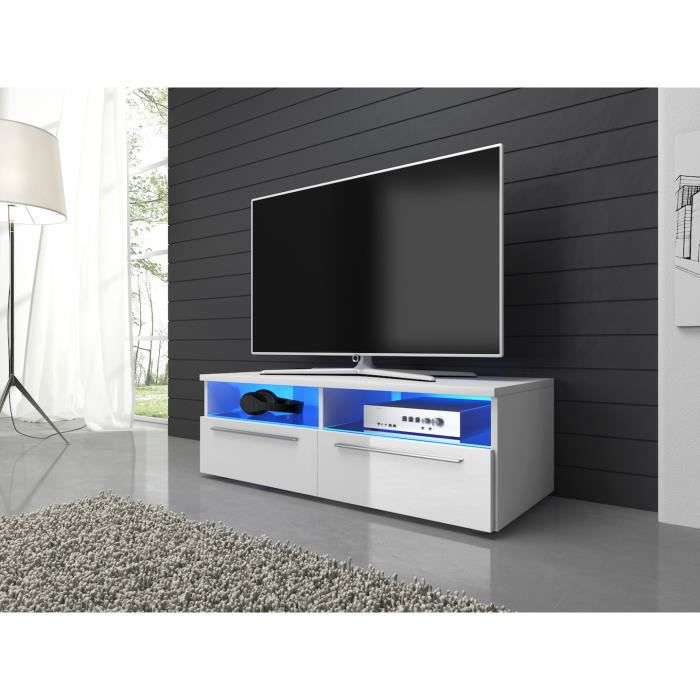 Meuble tv largeur 100 cm maison design for Meuble tv blanc 90 cm