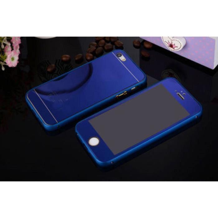 coque iphone 5 5s miroir integral bleu bumper coqu