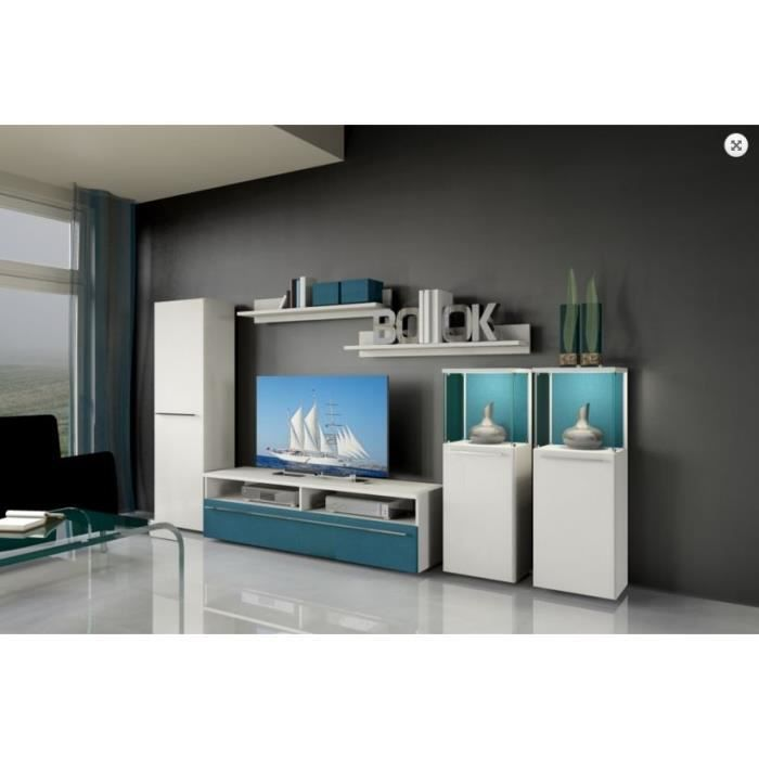 meuble tv lahos bleu blanc 310 cm 6 l ments achat vente meuble tv meuble tv lahos bleu. Black Bedroom Furniture Sets. Home Design Ideas