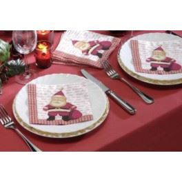 Ensemble nappe rouge et serviettes p re no l achat - Ensemble nappe et serviette de table ...