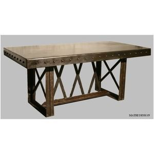 table industrielle style eiffel 2m achat vente table a manger seule table industrielle style. Black Bedroom Furniture Sets. Home Design Ideas