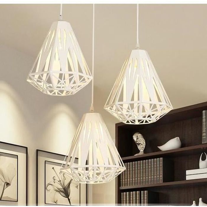 3tete Blanc Lustre Suspension Luminaire Vintage Industrielle
