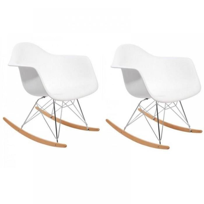 rocking chair design r tro woody blanc achat vente fauteuil cdiscount. Black Bedroom Furniture Sets. Home Design Ideas