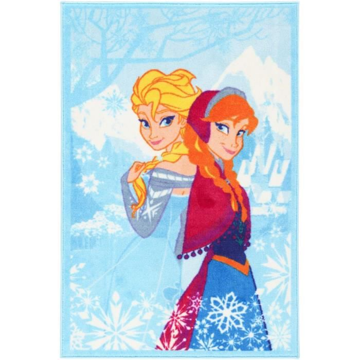 la reine des neiges frozen disney tapis enfant 140x80cm bleu achat vente tapis cdiscount. Black Bedroom Furniture Sets. Home Design Ideas