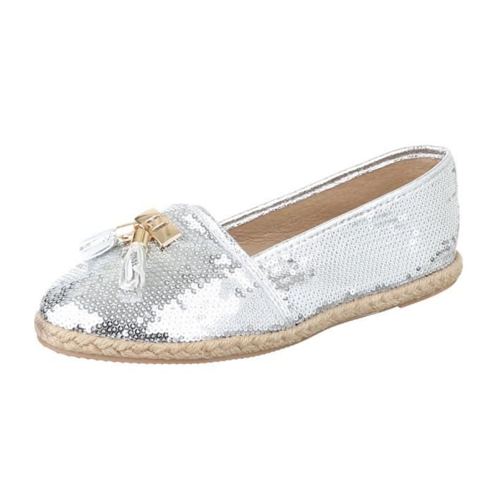 femme chaussure basse chaussure mocassin argent