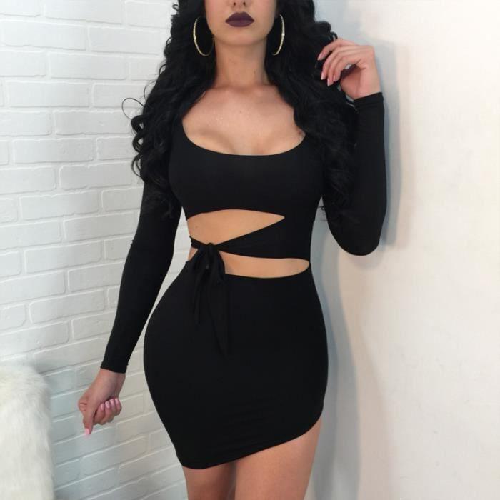 Sexy Femmes Dos Nu Club Slim Bandage Robe Boheme Irreguliere Chic Jupe Plage Ete Cocktail Soiree Mini Dress Noir Noir Achat Vente Robe Cdiscount