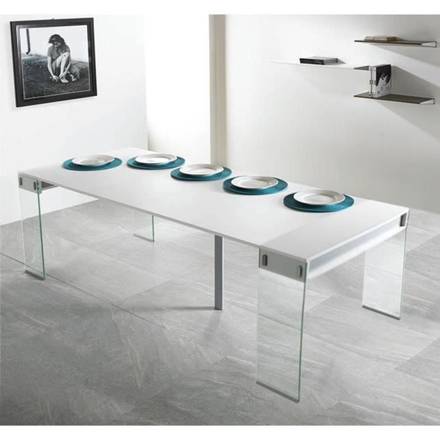 Table console extensible town blanc 4 allonges achat vente console extens - Console extensible cdiscount ...