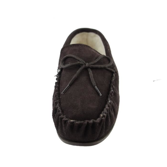 Deluxe Mens Sheepskin Wool Moccasin Slippers With Hard Sole - Suede Upper E6EDD Taille-48