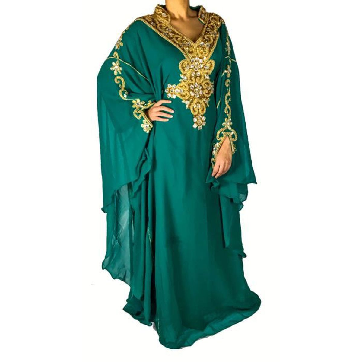 robe dubai caftan pas cher vert dor tenue orientale. Black Bedroom Furniture Sets. Home Design Ideas