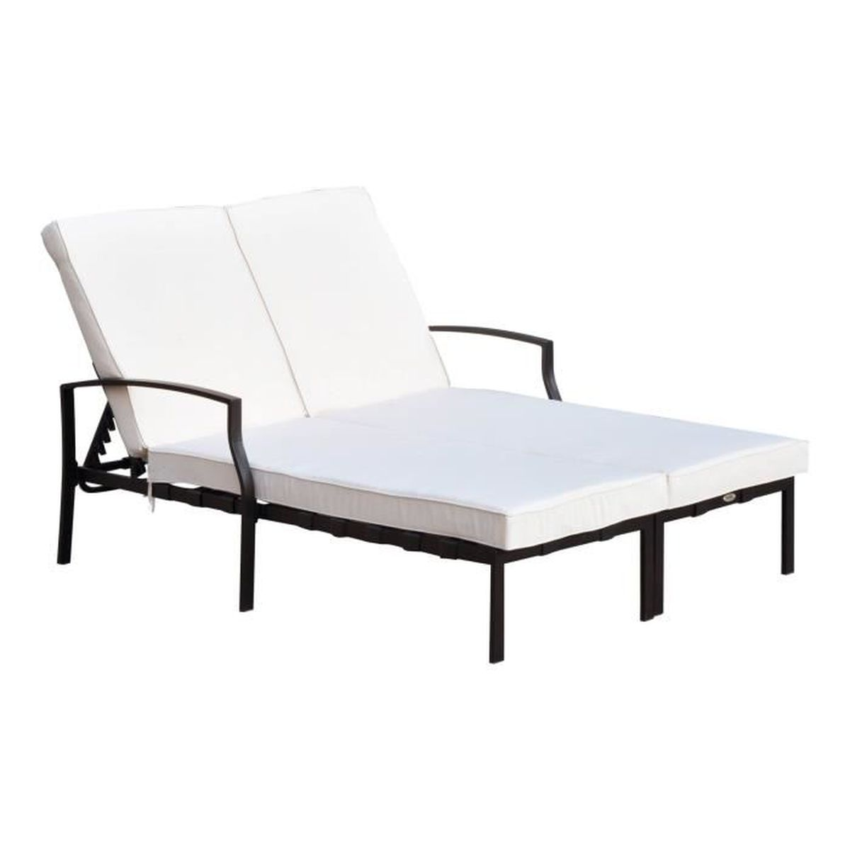 outsunny bain de soleil chaise longue 2 places lit de. Black Bedroom Furniture Sets. Home Design Ideas
