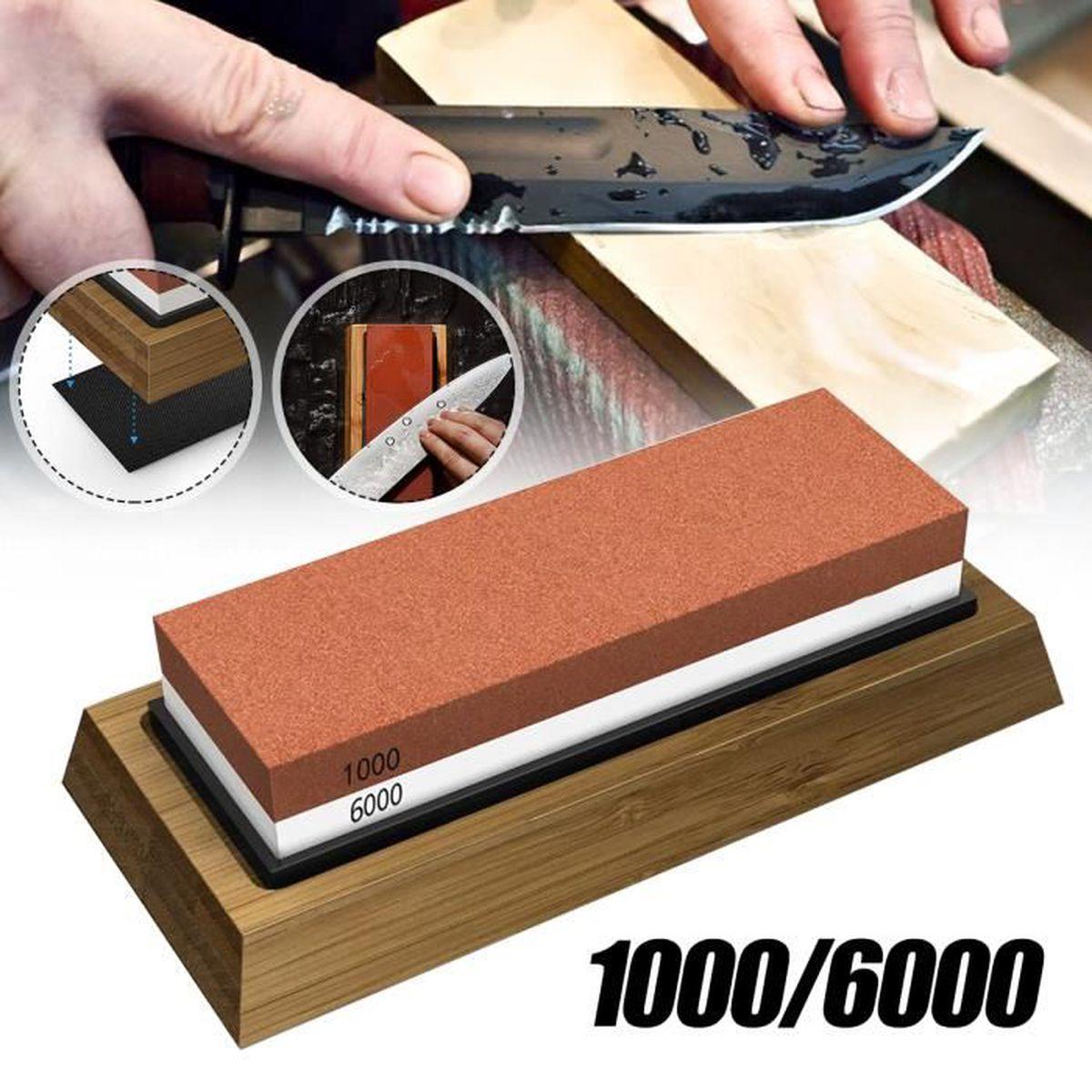 Outil de polissage de base en bambou à 2 pierres à aiguiser 1000//6000