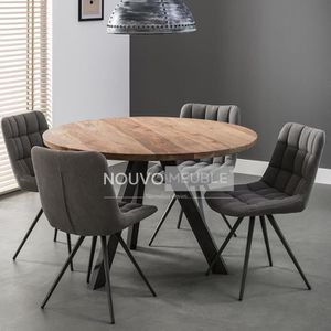 TABLE À MANGER SEULE Table à manger ronde en bois massif SAVANA 2